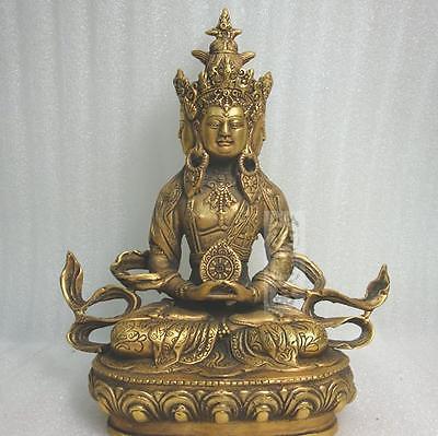 Elaborado chino latón Budista Tibetano tántrico Buddha en todas las direcciones