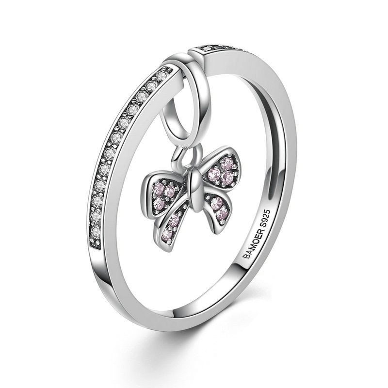 Mulheres Moda Jóias S925 Sterling Silver Rosa Bowknot Anel Dimond Anel de Dedo