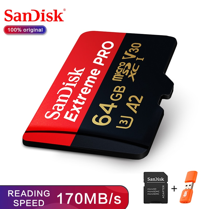 SanDisk Extreme Pro microSDHC/microSDXC Neue upgrade Speicher Karte 32GB microSD Karte 64GB TF Karte 170 MB/s 128GB Class10 U3 A2 V30