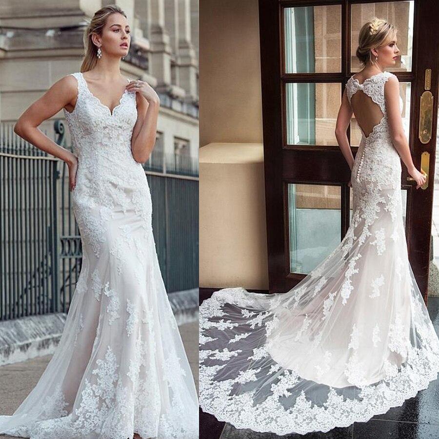 Привлекательное свадебное платье из тюля с v-образным вырезом и кружевной аппликацией, свадебное платье цвета шампанского, vestido de festa de casamento