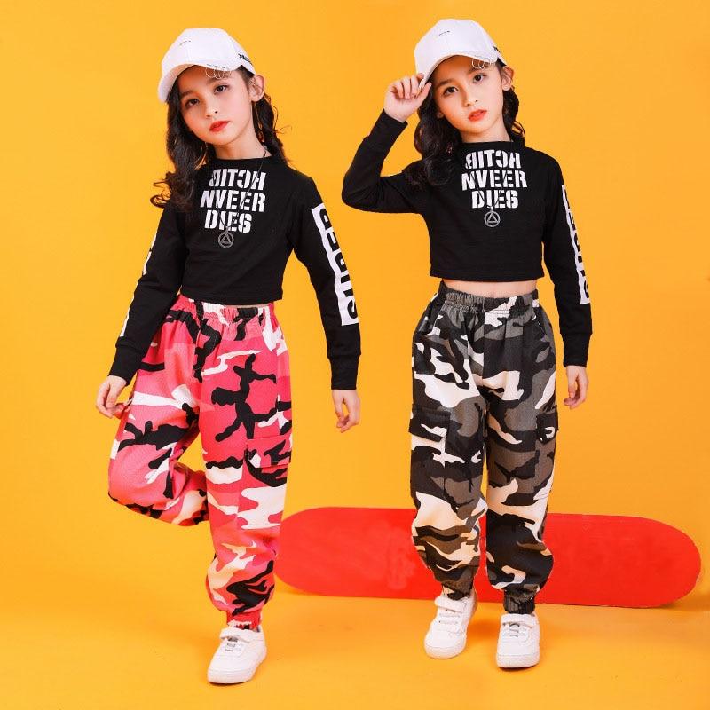 Kid Hip Hop Clothing Sweatshirt Crop Top Long Sleeve Camouflage Streetwear Tactical Cargo Pants for