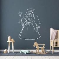 Autocollant mural   Angel Girl   en vinyle pour decoration de chambre de filles  autocollant mural   Sweet Girl    papier peint pour chambre denfants  autocollants dange mignons AY1767