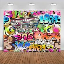 Neoback التصوير خلفية 90's حفلة الهيب هوب الكتابة على الجدران جدار خلفية للصور استوديو العودة إلى 90s حفلة عيد ميلاد الديكور
