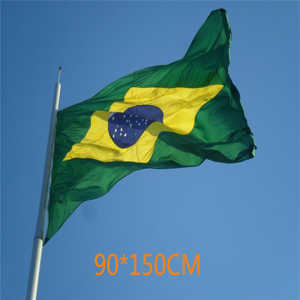 Brazil 3Ftx5Ft Flag Brazilian Football Cheerleader Flag 90x150CM Custom Super-Poly Indoor/Outdoor Decor National Flag Banner 3ftx5ft guinness ireland irish flag sign