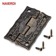10 Pcs Naierdi Antieke Bronzen Scharnieren Kastdeur Lade Decoratieve Mini Scharnier Voor Sieraden Opslag Houten Doos Meubels Hardware