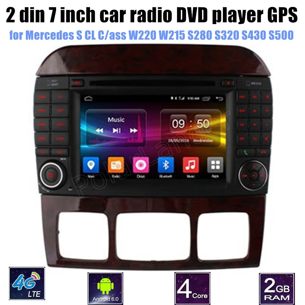 1024*600 Quad Core Android 6,0 para Mercedes BENZ clase CL en W220 W215 S280 S320 S430 S500 reproductor de DVD del coche GPS 4G Radio