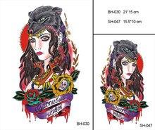 Grand corps Art bras manches temporaire tatouage autocollant loup femme bras Art tatouage mâle demi Totem faux Tatoo pour hommes femmes BH-030