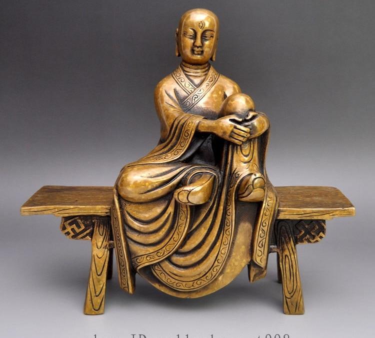 "8 ""bronce Tibet Kshitigarbha asiento taburete de madera cómoda estatua de Buda arhat"