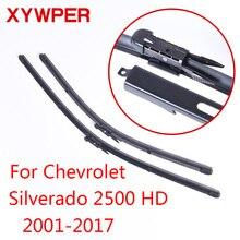 Lâminas de limpador xywper para chevrolet silverado 2500 hd 2001 2002 2003 2004 2005-2017 acessórios do carro limpadores de pára-brisa de borracha macia