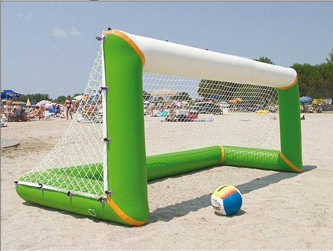 Inflable, arena, playa, inflable, fútbol, puerta de fútbol