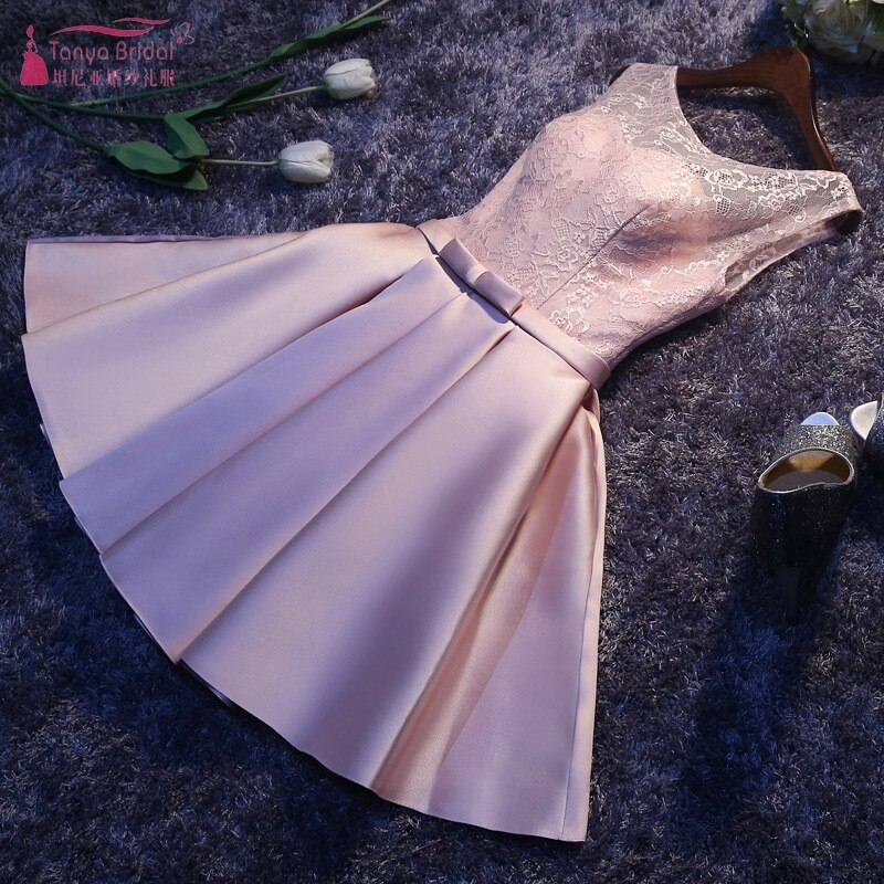 Pink Bridesmaid Dresses Lace Satin Short Knee Length Elegant Dress Women For Wedding Party Maid Of Honor Dresses  JQ30