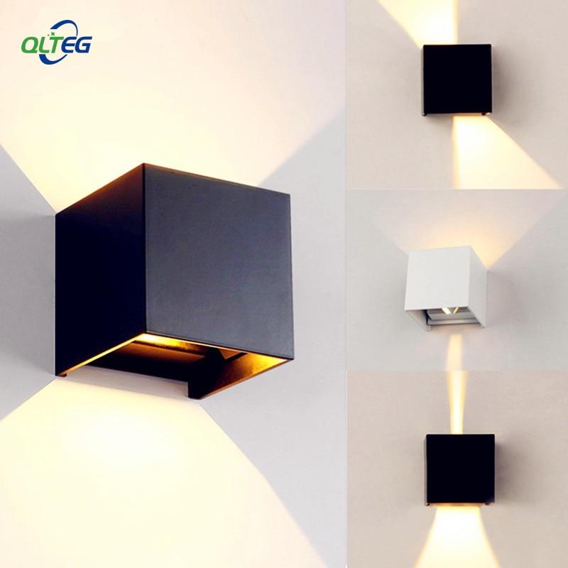 Lámparas de pared LED montadas en superficie ajustable, modernas, para exteriores, impermeables, IP65, lámparas de pared de aluminio, luces de jardín