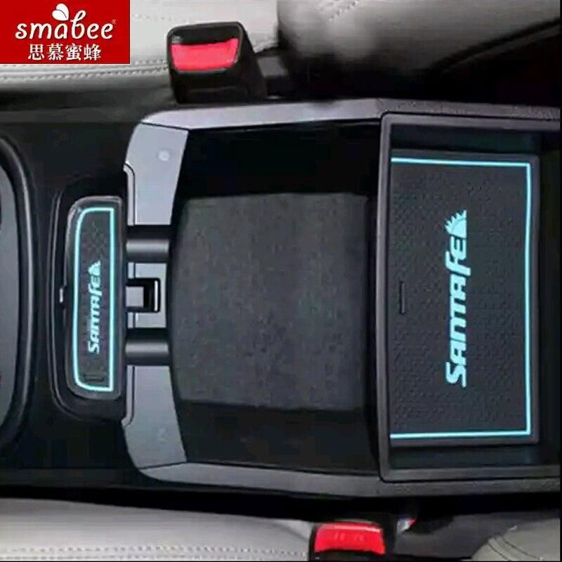 19 pçs/set para hyundai santa fe ix45 2013 - 2015, acessórios do carro esteira de borracha 3d antiderrapante porta sulco esteira smabee
