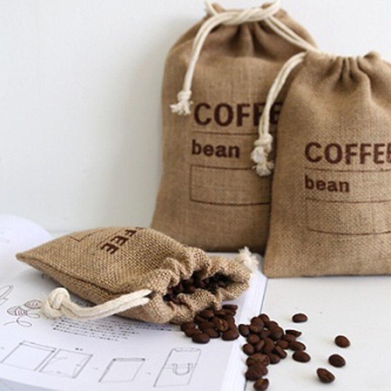Cereais juta feixes tecidos sacos de feijão de café cozinha diversos sacos de ervilhas sacos registro data natural sacos de serapilheira cordão reutilizável