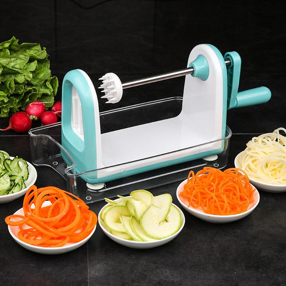 Cortador de patatas pelador multifunción espiral dispositivo de corte rizador flor tallado cuchillo rallador para el hogar herramienta de cocina azul