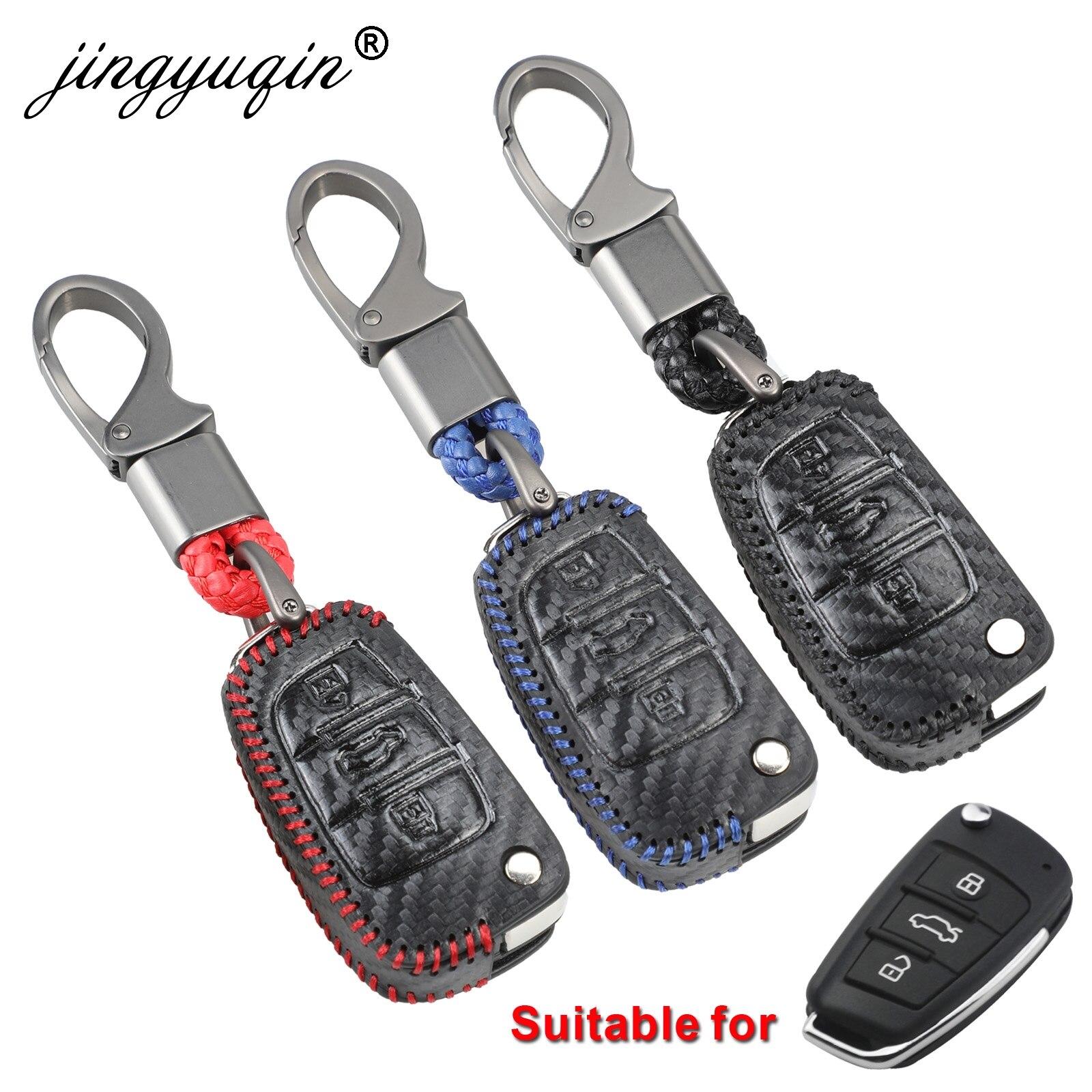 Jingyuqin estilo do carro de carbono couro macio auto chave proteção caso capa para audi c6 a7 a8 r8 a1 a3 a4 a5 q7 a6 c5 titular escudo