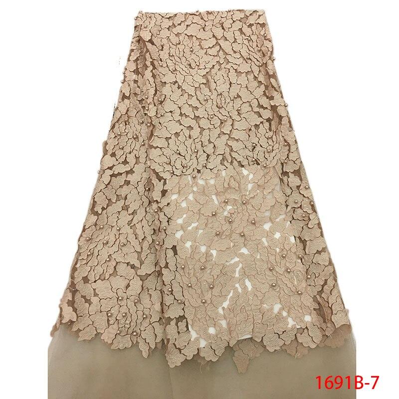 Lo último en encaje de tul nigeriano de cebolla, tela de encaje con cuentas 2020 de red francés para bordado de boda nigeriano, tela de encaje africano 1691B-4