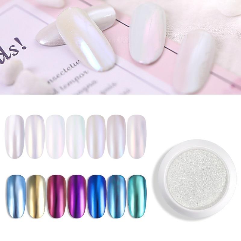 Polvo de pigmento para uñas, 1 caja de polvo de cromo holográfico blanco para decoración de manicura