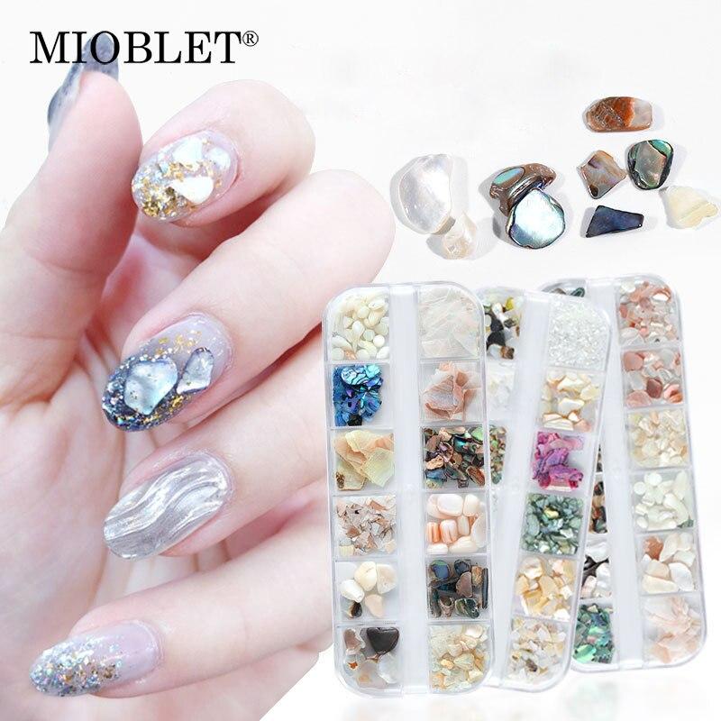 1 caixa multi-tamanho irregular abalone casca fatia unhas arte decorações 3d unhas pedras flocos dicas diy manicure lantejoulas acessórios