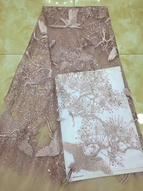 Tela de encaje africano 2018 encaje de alta calidad patrón de ganso diseño de tela de malla bordada lentejuelas nigerianas swiss lace tela X1109