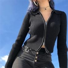 NCLAGEN 2019 femmes printemps automne noir côtelé fermeture éclair chandails récolte hauts Cardigan à manches longues col rabattu Mujer manteau pulls