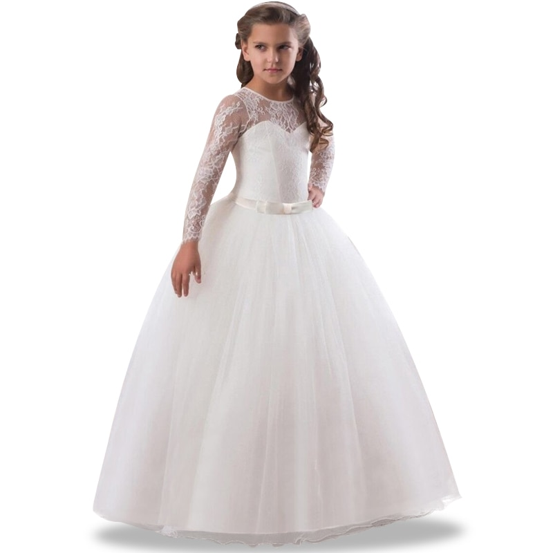 2020 vestidos lindos para comunhão laço oco cosplay vestido de princesa artesanal curvy little girls branco tule bola vestidos