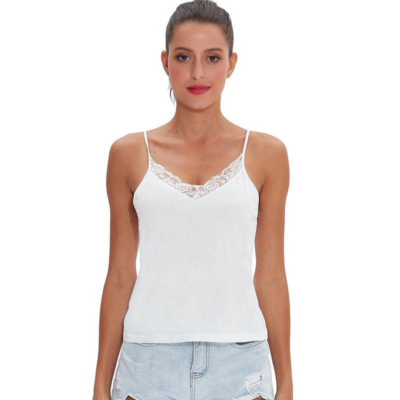 Casual suave algodón elástico encaje bottoming mujer tank tops sexy cuello pico sin mangas chicas básica camiseta M30169