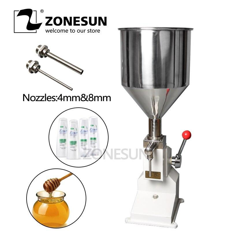 ZONESUN, Máquina Manual de llenado de pasta, máquina de llenado de líquidos en crema, rellenador de botella, salsa, esmalte de mermelada de 0 a 50ml