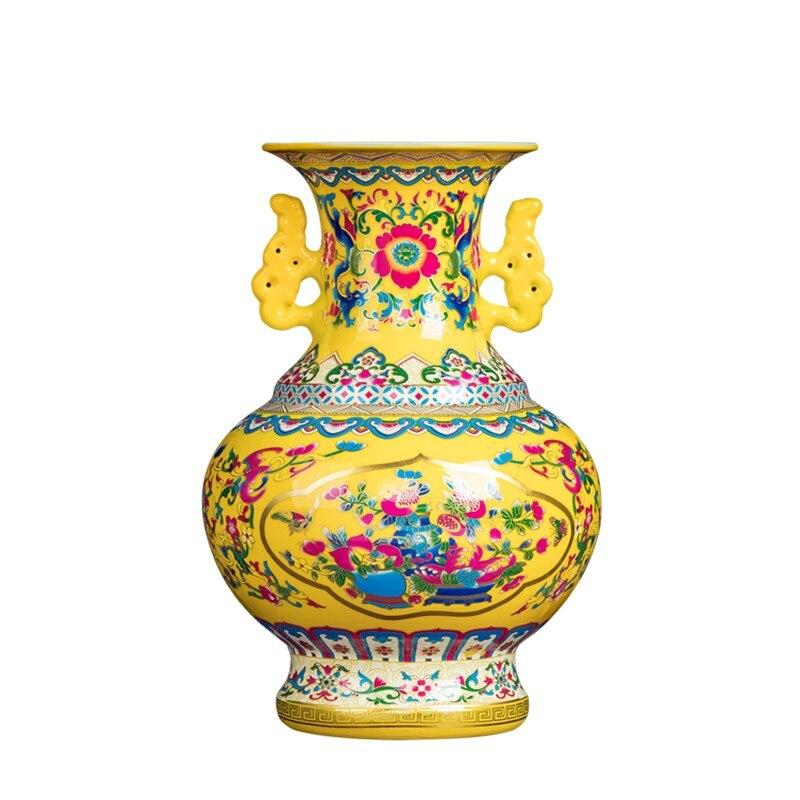 Retro Jingdezhen antigüedad antiguo esmalte chino flor florero decoración para el hogar o la oficina jarrones de porcelana R1886
