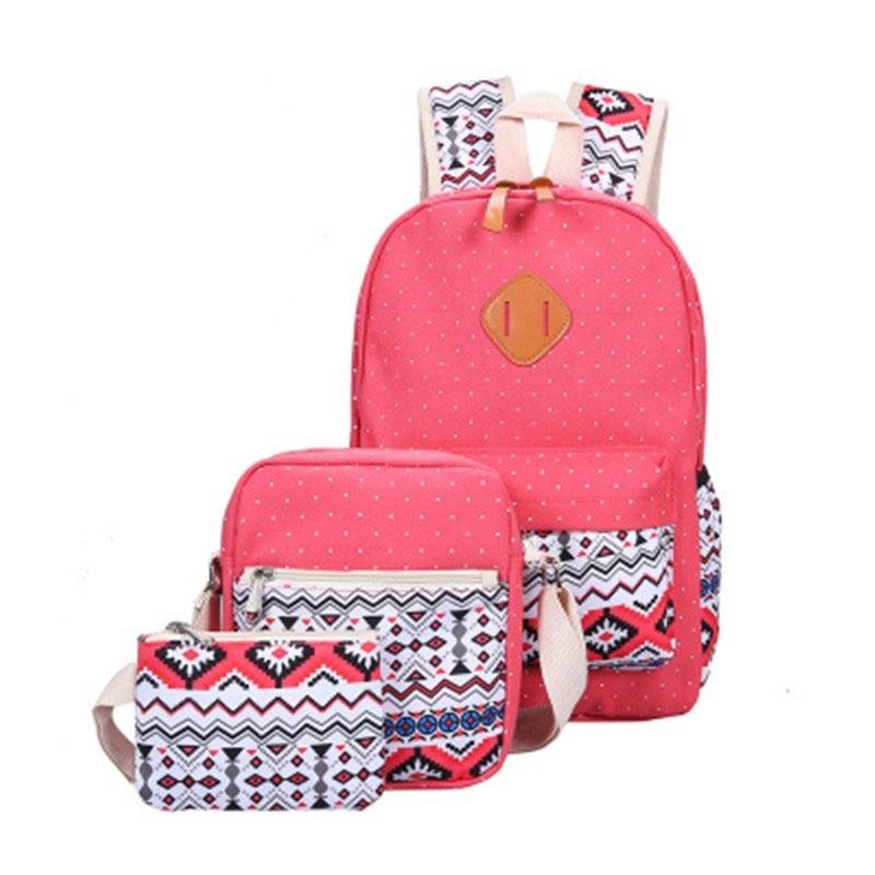 2019 Canvas Backpack 3 Pcs Set Women School Bag Backpacks Schoolbag For Teenagers Female Student Book Bag Girls Satchel Bookbag