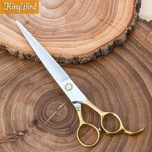 개 머리 가위 7.5 인치 전문 개 손질 가위 애완 동물 머리 가위 스트레이트 큰 손가락 구멍 kingbird 새로운