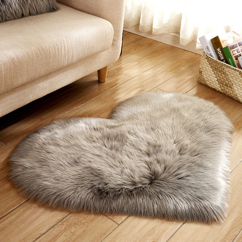 Love Heart Rugs Artificial fur Sheepskin Hairy Carpet Bedroom Living Room Decor Soft Shaggy Area Rug Carpet