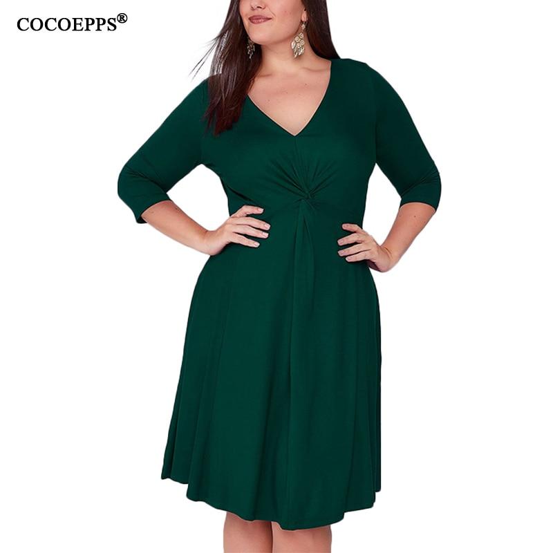 Vestidos de invierno Otoño de talla grande para mujer talla grande 4XL 5XL Vestido de oficina verde para mujer Sexy cuello en V profundo Vestido de fiesta de noche de gran tamaño