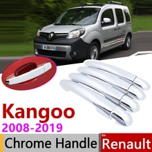 for Renault Kangoo II MK2 2008~2019 Chrome Door Handle Cover Car Accessories Stickers Trim Set 2009 2010 2012 2014 2016 2018