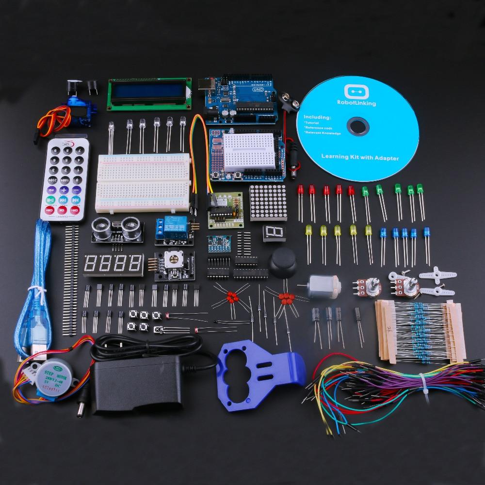 UNO مشروع لتقوم بها بنفسك مجموعة بداية لاردوينو مع البرنامج التعليمي ، تتابع 5 فولت ، وحدة امدادات الطاقة ، المحرك