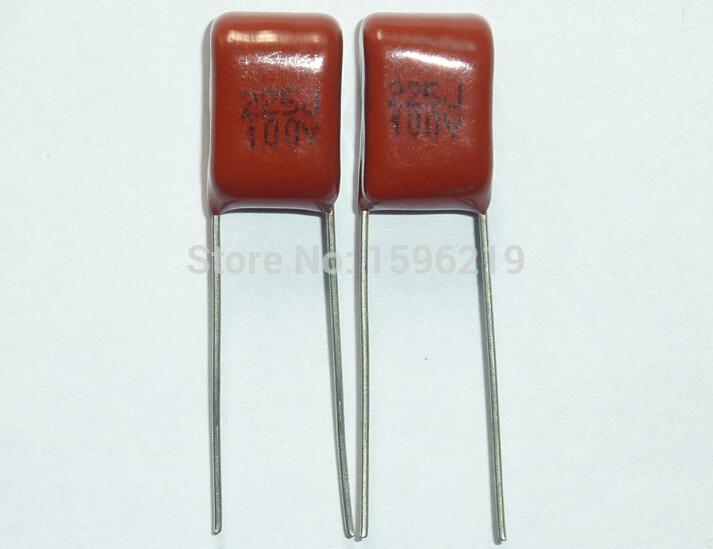 10 Uds condensador CBB 225 100V 225J 2,2 uF 2200nF P7.5 CL21 condensador de película de polipropileno metalizado