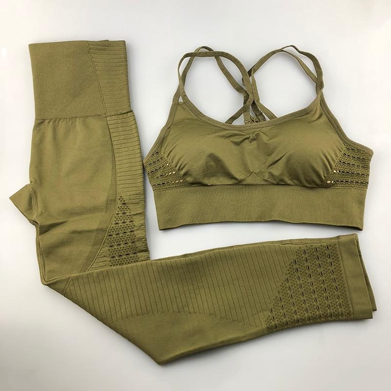 Seamless Yoga Set Women Fitness Clothing Sportswear Woman Gym Leggings Padded Push-up Strappy Sports