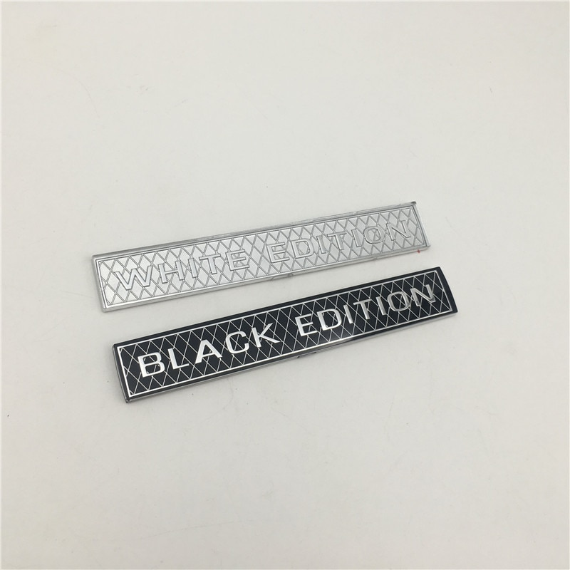 For Toyota Land Cruiser HighLander 2008-2019 Car Rear Trunk 3D White Black Edition Emblem Badge Sticker Trim Decoration