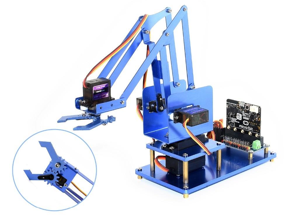waveshare 4 dof metal robot arm kit para micro pouco bluetooth controle remoto fonte