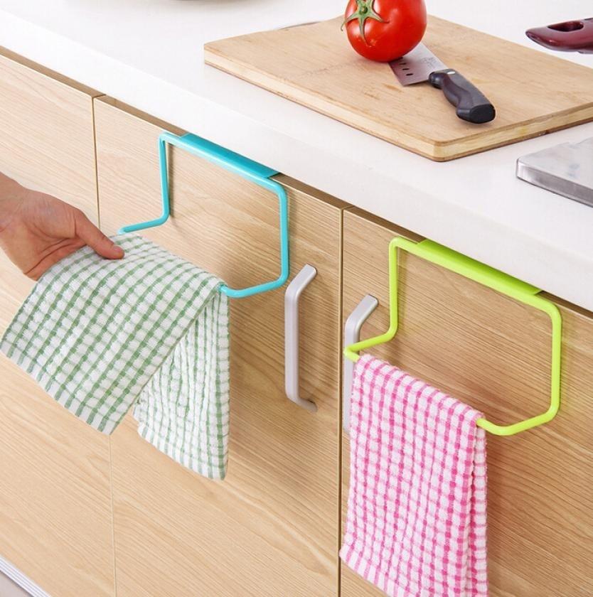 Toallero para puerta de té, soporte para colgar en barra, organizador de rieles, armario de baño, percha de armario, accesorios de cocina, tienda QJS