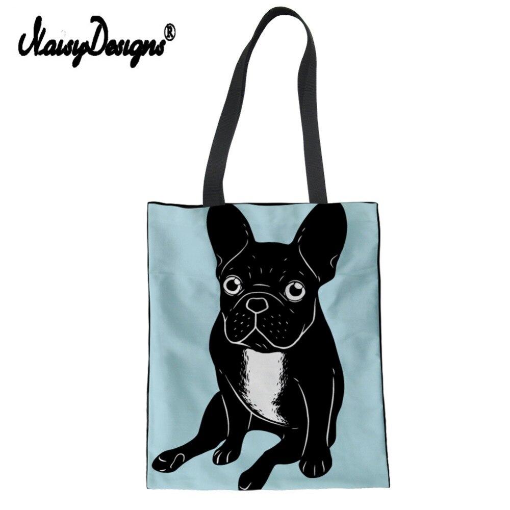 Bolso de hombro de lona con dibujo de Bulldog Francés de color negro, bolso de compras ecológico para mujer, bolso de mano informal, bolso de hombro para mujer