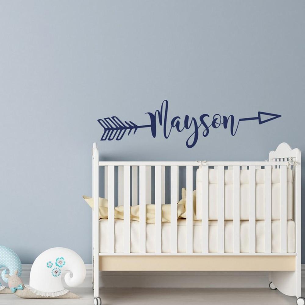 Nome de seta personalizado decalque da parede nome rústico decalque slogan decoração direção seta nome adesivo berçário crianças decalques g326