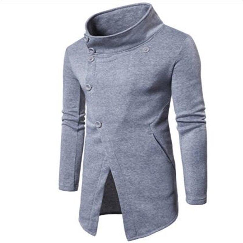 Longo da Moda com Botão Masculino de 3 Suéter Cabolsa Longo Cores Inclinado Jaqueta Tops Masculinos