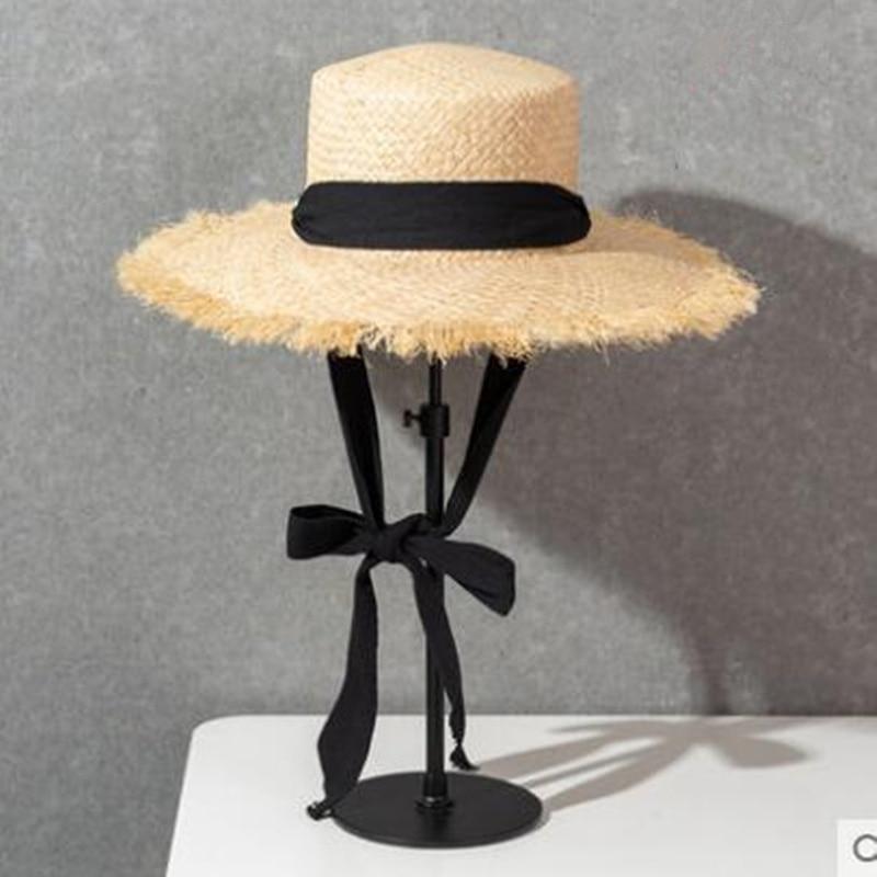 New Handmade Raffia Sun Hat For Women Black Ribbon Tie  Large Brim Summer Straw Hat Summer Beach Cap H3