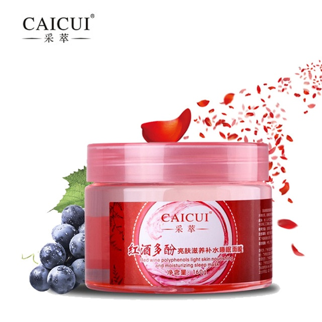 CAICUI Red Wine Essence Sleeping Mask No Wash Moisturizing Night Cream Anti Aging Anti Wrinkle Nutrition Facial Cream