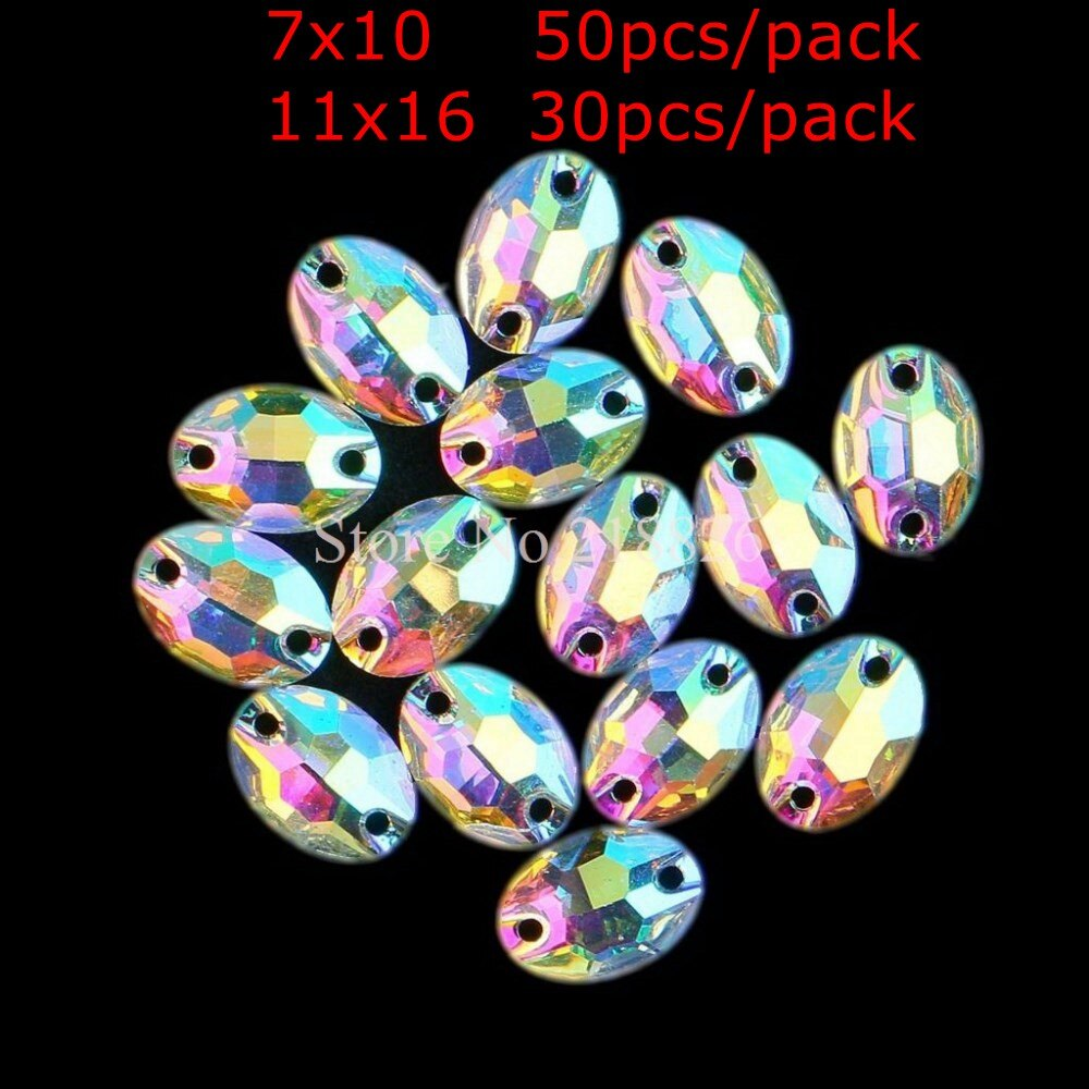 DIY, cristal ovalada de resina AB para coser, diamantes de imitación de cristal con parte trasera plana, cristales con dos agujeros para coser, manualidades para vestido de boda