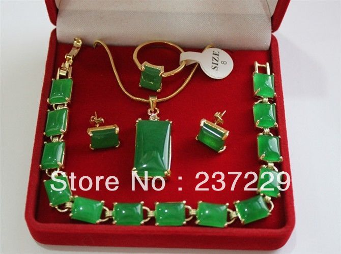 Precio al por mayor envío gratis ^^ ^ hermoso AAA piedra verde natural 18KGP collar pulsera pendiente conjunto de joyería