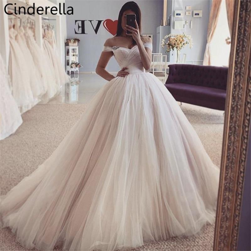 Cenicienta Blush v-cuello del hombro A-Line de encaje hasta la espalda suave tul vidrio boda cuentas de cristal vestidos vestido de novia