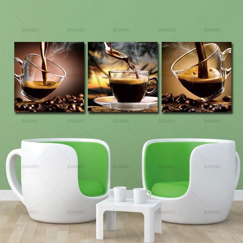 Lienzo de café arte de pared pintura de taza de café tríptico lienzo arte café grano impresión fotográfica sobre lienzo 3 piezas pintura artística