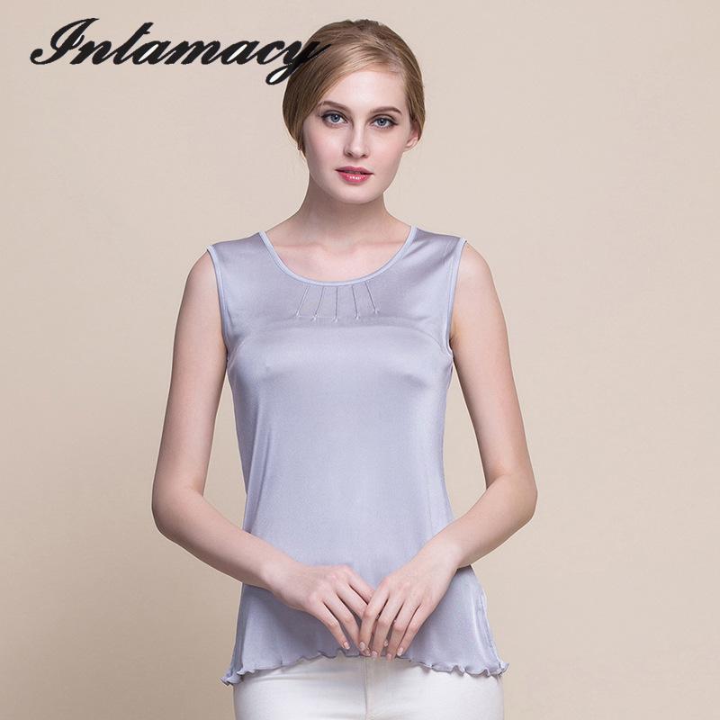 بلوزات نسائية من الحرير الطبيعي 100% ، قمصان طويلة متماسكة ، بلوزات نسائية ، سترات بدون أكمام من الحرير